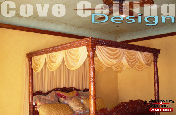 Cove Ceiling Design with Crown Moulding in Master Bedroom